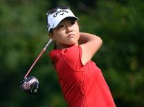 Aug 23, 2015; Coquitlam, British Columbia, CAN; Lydia Ko drives during the fourth round at Vancouver Golf Club. Mandatory Credit: Anne-Marie Sorvin-USA TODAY Sports