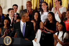 Sep 15, 2015; Washington, DC, USA; President Barack Obama acknowledges Connecticut Huskies forward Brianna Stewart (B-M) during a ceremony honoring the 2015 NCAA women's champion Connecticut Huskies in the East Room at The White House. Mandatory Credit: Geoff Burke-USA TODAY Sports