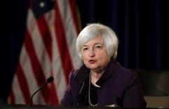 Federal Reserve Chair Janet Yellen attends a news conference after chairing the second day of a two-day meeting of the Federal Open Market Committee to set interest rates in Washington June 17, 2015.  REUTERS/Carlos Barria