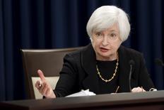 A chair do Fed, Janet Yellen, durante conferência de imprensa após o banco central dos EUA decidir mantar os juros nesta quinta-feira 17/09/ 2015.  REUTERS/Jonathan Ernst