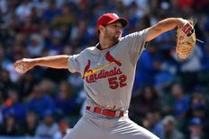 St. Louis Cardinals starting pitcher Michael Wacha (52) pitches against the Chicago Cubs at Wrigley Field. Sep 19, 2015; Chicago, IL, USA.  Jasen Vinlove-USA TODAY Sports