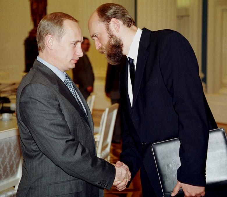 Sergei Pugachev and Russian President Vladimir Putin in 2000. REUTERS/File