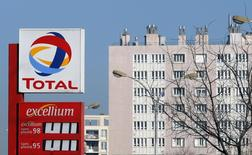 A logo is pictured at French oil and gas company Total gas station in Marseille, February 11, 2015.   REUTERS/Jean-Paul Pelissier