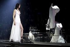 A model presents a creation from Philipp Plein. REUTERS/Alessandro Garofalo