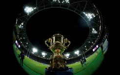 Rugby Union - New Zealand v Namibia - IRB Rugby World Cup 2015 Pool C - Olympic Stadium, London, England - 24/9/15 General view of the Webb Ellis Cup before the match Reuters / Eddie Keogh