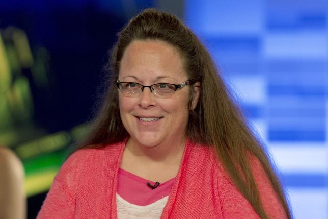 Kentucky county clerk Kim Davis speaks during an interview on Fox News Channel's 'The Kelly File' in New York in this September 23, 2015, file photo.  REUTERS/Brendan McDermid/Files
