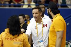 Jul 23, 2015; Toronto, Ontario, CAN; Former professional basketball player Steve Nash greets volunteers during a men's basketball preliminary round game between Canada and Mexico during the 2015 Pan Am Games at Ryerson Athletic Centre. Mandatory Credit: Jeff Swinger-USA TODAY Sports
