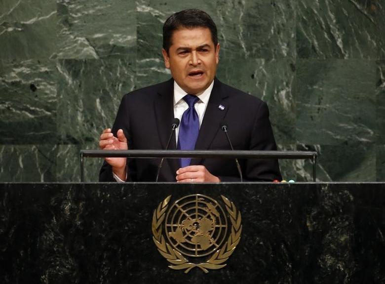 Honduras President Juan Orlando Hernandez Alvarado addresses a plenary meeting of the United Nations Sustainable Development Summit 2015 at the United Nations headquarters in Manhattan, New York September 25, 2015. REUTERS/Andrew Kelly