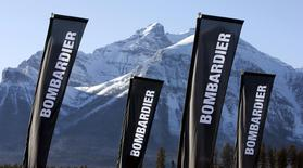 Banners for the Bombardier company are shown at a sporting event in Lake Louise, Alberta in this December 2, 2009 file photo.  EUTERS/Andy Clark/Files