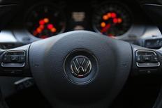 The steering wheel of a Volkswagen Passat TDI diesel is seen in central London, Britain September 30, 2015. REUTERS/Stefan Wermuth