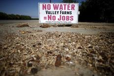 A water protest sign is seen near Bakersfield, California, United States, July 23, 2015. REUTERS/Lucy Nicholson