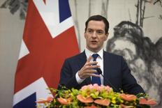 """Britain's Chancellor of the Exchequer George Osborne speaks during the seventh UK-China Economic and Financial Dialogue """"Roundtable on Public-Private Partnerships"""" at Diaoyutai State Guesthouse in Beijing September 21, 2015. REUTERS/Andy Wong/Pool"""