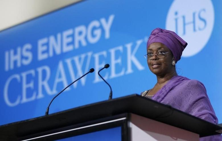 Nigeria's Petroleum Minister and OPEC's alternate president Diezani Alison-Madueke speaks at the annual IHS CERAWeek conference in Houston, Texas March 4, 2014.  REUTERS/Rick Wilking