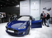 The Tesla Model S is presented during the media day at the Frankfurt Motor Show (IAA) in Frankfurt, Germany September 15, 2015. REUTERS/Kai Pfaffenbach