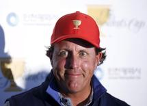 U.S. team member Phil Mickelson attends a news conference during the 2015 Presidents Cup golf tournament at The Jack Nicklaus Golf Club in Incheon, South Korea, October 6, 2015.  REUTERS/Kim Hong-Ji