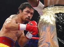 Manny Pacquiao em luta contra  Floyd Mayweather, nos Estados Unidos.  03/05/2015  REUTERS/Steve Marcus