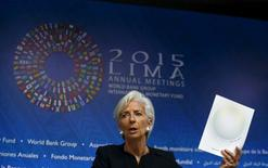 International Monetary Fund (IMF) Managing Director Christine Lagarde speaks during a news conference during the 2015 IMF/World Bank Annual Meetings in Lima, Peru, October 8, 2015.   REUTERS/Mariana Bazo