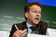 El presidente del Eurogrupo, Joroen Dijsselbloem, durante una conferencia de prensa en Luxemburgo, 5 de octubre de 2015. Los gobiernos de la zona euro, los mayores acreedores de Grecia, acordaron que el alivio para Atenas debería realizarse mediante la limitación de los costos de servir la deuda al 15 por ciento del Producto Interno Bruto, dijo el jueves el presidente de los ministros de Finanzas del grupo, Jeroen Dijsselbloem. REUTERS/Eric Vidal