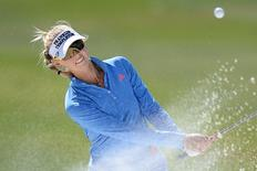 Jessica Korda plays out of a greenside bunker on the ninth hole during the first round in a file photo. Jake Roth-USA TODAY