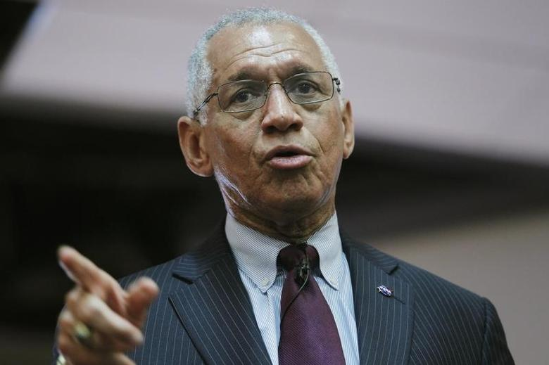 NASA administrator Charles Bolden speaks during a presentation to students about NASA's exploration plans in our solar system and on the planet Mars, at a local university in Lima, February 27, 2015. REUTERS/Enrique Castro-Mendivil