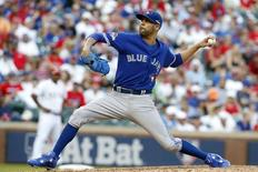 Oct 12, 2015; Arlington, TX, USA; Toronto Blue Jays pitcher David Price (14) throws against the Texas Rangers during the eighth inning in game four of the ALDS at Globe Life Park in Arlington. Mandatory Credit: Tim Heitman-USA TODAY Sports