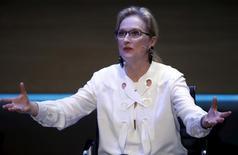 Atriz Meryl Streep fala à plateia durante evento em Londres. 08/10/2015 REUTERS/Peter Nicholls