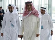 Asian Football Confederation (AFC) head Sheikh Salman bin Ebrahim Al-Khalifa arrives for a meeting with the FIFA task force in Doha February 24, 2015.  REUTERS/Mohammed Dabbous