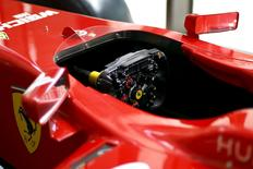 The steering wheel of a Ferrari Formula One replica car is seen in Santiago city, Chile, October 20, 2015.  REUTERS/Ivan Alvarado