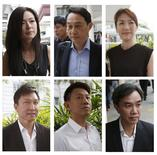 A combination photo shows City Harvest Church's members (top L-R to bottom L-R), former finance manager Serina Wee, former fund manager Chew Eng Han, former finance manager Sharon Tan, founder Kong Hee, deputy senior pastor Tan Ye Peng and former treasurer John Lam arriving at the State Courts in Singapore October 21, 2015, where a verdict is expected to be delivered for their trial of misappropriating S$50 million ($42.5 million)  of church funds and falsifying the church's accounts. REUTERS/Edgar Su
