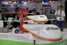 Models of the ARJ21 regional jet from Commercial Aircraft Corp of China (COMAC) are displayed at the Aviation Expo China 2015 in Beijing, China, September 16, 2015. REUTERS/Jason Lee