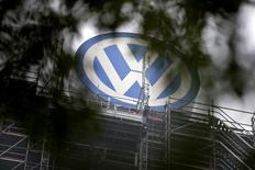 A Volkswagen logo stands on the roof of the company's headquaters in Wolfsburg, Germany October 7, 2015.
