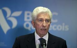 Bloc Quebecois leader Gilles Duceppe announces his resignation as party leader in Montreal, Quebec October 22, 2015. Duceppe stepped down as leader of the separatist Bloc Quebecois party after failing to win a seat in Canada's Monday election.  REUTERS/Christinne Muschi