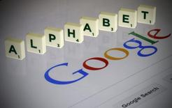 "Letters spell the word ""Alpahbet"" as they are seen on a computer screen with a Google search page in this photo illustration taken in Paris, France, August 11, 2015.  REUTERS/Pascal Rossignol"