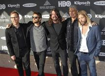 The Foo Fighters arrive ahead of the 2015 Rock and Roll Hall of Fame Induction Ceremony in Cleveland, Ohio April 18, 2015. REUTERS/Aaron Josefczyk - RTR4XVU1