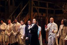 "Lin-Manuel Miranda, actor and creator of the of the play ""Hamilton,"" addresses the audience after the plays opening night on Broadway in New York in this August 6, 2015, file photo. REUTERS/Lucas Jackson/Files"