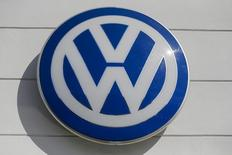 The logo of German carmaker Volkswagen is seen at a VW dealership in the Queens borough of New York, September 21, 2015.