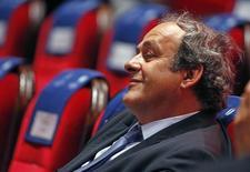 Presidente da Uefa, Michel Platini, que está suspenso, durante evento em Monte Carlo.  28/08/2015    REUTERS/Eric Gaillard