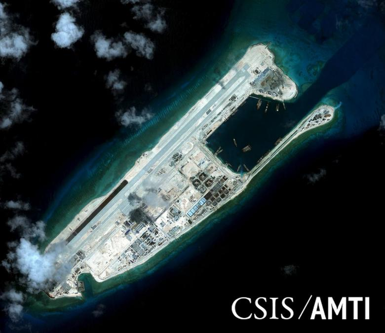 Fiery Cross reef, located in the disputed Spratly Islands in the South China Sea, in a satellite image taken September 3, 2015. REUTERS/CSIS Asia Maritime Transparency Initiative/DigitalGlobe