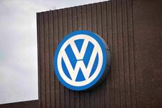The Volkswagen logo is seen at a power plant in Wolfsburg, Germany in this September 22, 2015 file photo. REUTERS/Axel Schmidt/Files