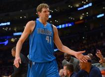 Nov 1, 2015; Los Angeles, CA, USA;  Dallas Mavericks forward Dirk Nowitzki (41) heads to the bench in the second half of the game against the Los Angeles Lakers at Staples Center. Mandatory Credit: Jayne Kamin-Oncea-USA TODAY Sports