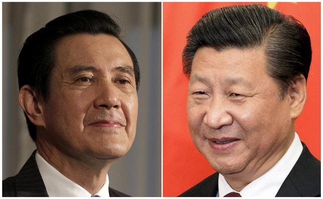 A combination photograph shows Taiwan President Ma Ying-jeou (L) listening to a question during an interview with Reuters at the Presidential Office in Taipei in this June 1, 2012 file photograph and Chinese President Xi Jinping (R) smiling before his meeting at the Diaoyutai State Guesthouse in Beijing, China October 29, 2015 file photo.  REUTERS/Pichi Chuang /Muneyoshi Someya /Files