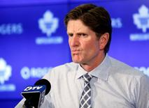 Nov 4, 2015; Toronto, Ontario, CAN; Toronto Maple Leafs head coach Mike Babcock during the post game media conference after loss to the Winnipeg Jets at Air Canada Centre. Winnipeg defeated Toronto 4-2. Mandatory Credit: John E. Sokolowski-USA TODAY Sports