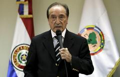 Former FIFA Vice President Eugenio Figueredo speaks during a news conference in Asuncion this April 30, 2013 file picture. REUTERS/Jorge Adorno
