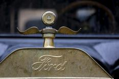 The logo and hood ornament of a 1915 Ford Model T is seen after it arrived from Detroit at the Palace of Fine Arts in San Francisco, California August 19, 2015. REUTERS/Robert Galbraith