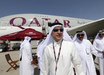 CEO of Qatar Airways Akbar Al Baker visits the Dubai Airshow November 8, 2015.  REUTERS/Ahmed Jadallah