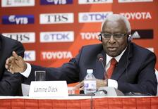 Outgoing President of International Association of Athletics Federations (IAAF) Lamine Diack answers a question at a news conference in Beijing, August 20, 2015.  REUTERS/Jason Lee