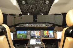 The cockpit of a mock-up of Bombardier Inc's Global 7000 business jet is shown at the company's assembly line in Toronto, Ontario, November 3, 2015.   REUTERS/