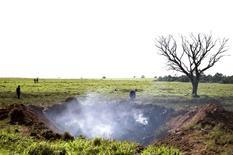 Local da queda de avião que resultou na morte de executivos do Bradesco em fazenda na fronteira entre Goiás e Minas Gerais. 11/11/2015 REUTERS/Ueslei Marcelino