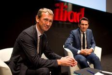Le directeur général d'Iliad Maxime Lombardini et son directeur financier Thomas Reynaud. Le groupe de télécommunication fait état d'une nouvelle hausse de son chiffre d'affaires au troisième trimestre, son CA global s'établissant à 1,11 milliard d'euros, en hausse de 5,3%, le dynamisme dans le mobile ayant compensé la faible progression (+1,4%) des revenus dans le fixe. /Photo prise le 31 août 2015/REUTERS/Charles Platiau