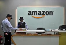 Security guards stand at the reception desk of the Amazon India office in Bengaluru, India, August 14, 2015. REUTERS/Abhishek N. Chinnappa